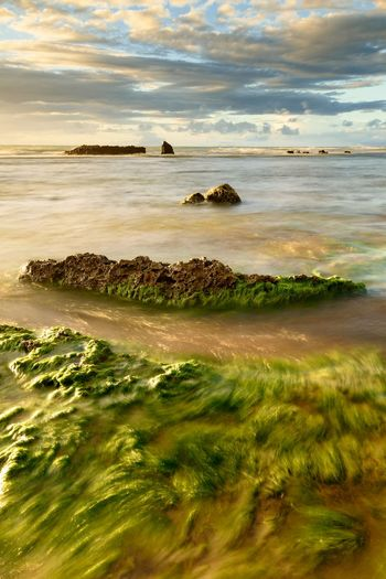 Anyer  Banten INDONESIA Beach Beauty In Nature Cloud - Sky Horizon Horizon Over Water Idyllic Land Long Exposure Motion Nature No People Outdoors Scenics - Nature Sea Sky Sunset Tranquil Scene Tranquility Water Wave