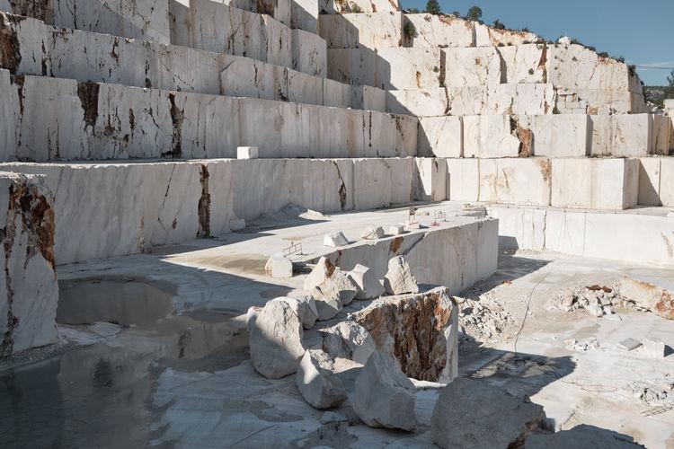Ledges of excavated marble stone material at mediterranean region of mersin, turkey