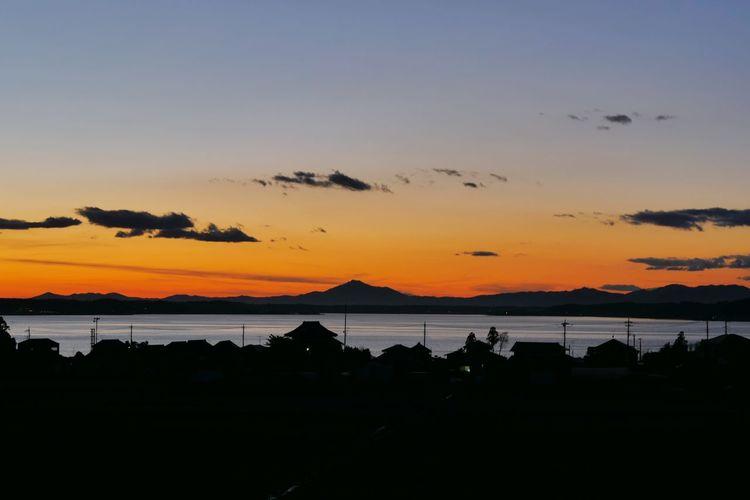 Lake Hinuma Ibaraki-Japan Landscape Of Japan Mount Tsukuba Silhouette Sunset Sea Landscape Water Sky Blue Nature Outdoors No People