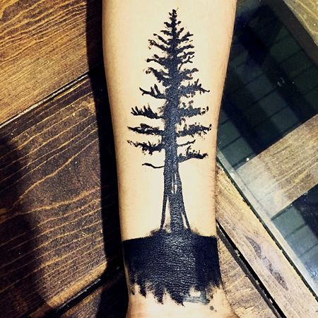 Tattoo Pine Tree Forearm 🌲👍🏻