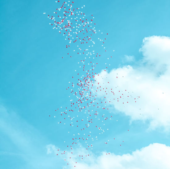 Low Angle View Of Helium Balloons Flying In Blue Sky