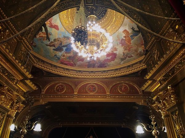 Opera House Barroque Neo Renaissance Architecture Low Angle View Ornate Indoors  Ceiling Fresco Dome History Built Structure Illuminated Travel Destinations No People Hanging Cupola Day Hungary National Opera