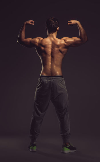 Athletic man showing back and biceps muscles. Full length, studio shot Athlete Athletic BodyBuilder Bodybuilding Attractive Beauty Biceps Fitness Fitness Model Full Length Masculinity Muscular Muscular Build One Person Physique  Sport Sportive Standing Strength Strength Training Strong Studio Shot Triceps Young Adult Young Men