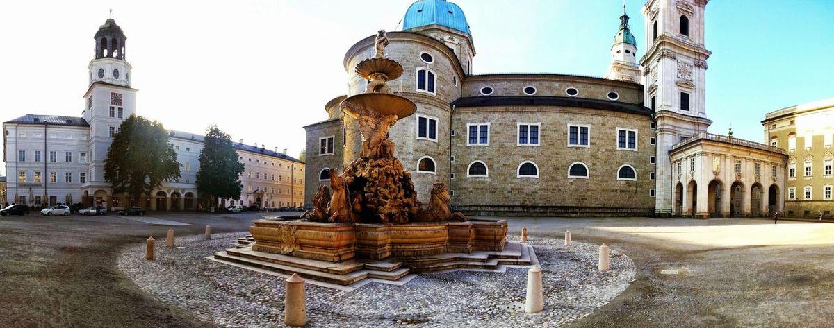 Salzburg Oldtown Residenzbrunnen Sunrise Pano