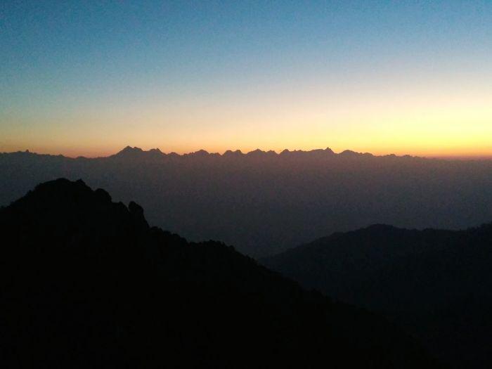 Himalayas waking up in the morning. Morning Narayanthan Nepal Environment Mountain Himalayas Sunrise Space Fog Dawn Silhouette Forest Mountain Peak