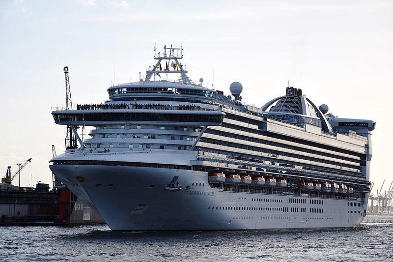 Cruise ship on sea against sky
