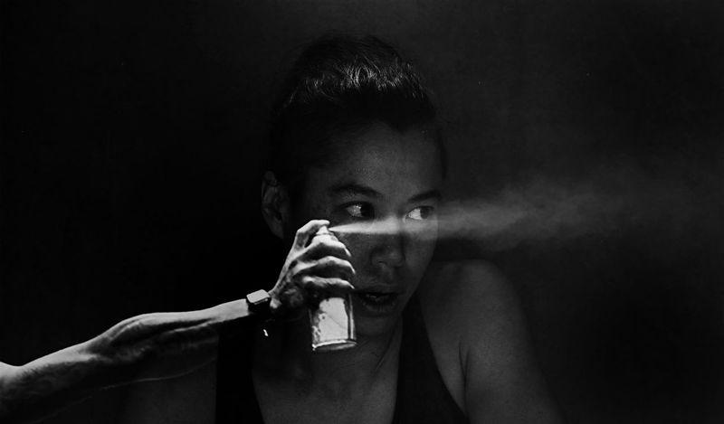 Human Hand Black Background Portrait Young Women Headshot Women Human Face