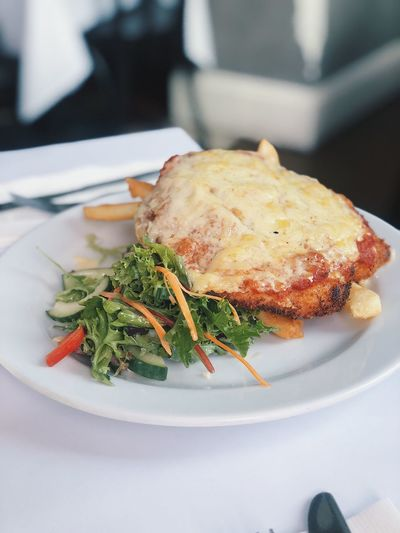 Chicken Parmigiana Parmigiana Plate Food Food And Drink Serving Size Ready-to-eat Indoors  Freshness