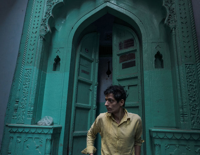 EyeEm EyeEm Best Shots Green India Indian Indian Street Photography Architecture Beautiful Doors Building Exterior One Person Portrait Portrait Photography Yellow Be. Ready. My Best Travel Photo