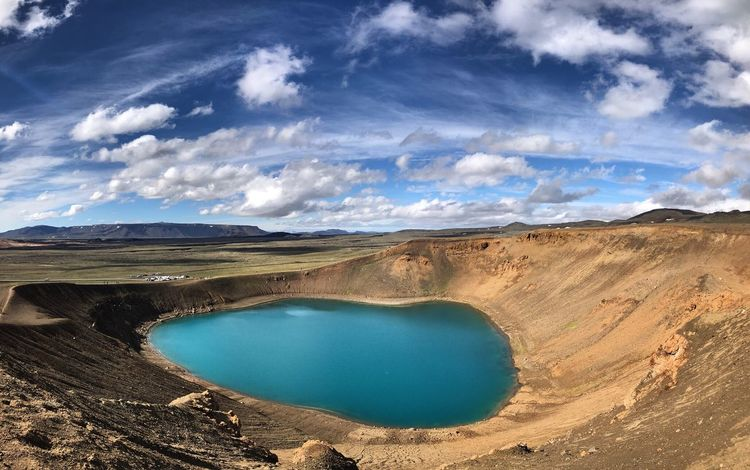 Iceland Arid Climate Beauty In Nature Blue Cloud - Sky Day Environment Geology Hot Spring Idyllic Lake Land Landscape Nature No People Non-urban Scene Outdoors Remote Scenics - Nature Sky Tranquil Scene Tranquility Turquoise Colored Volcanic Crater Water