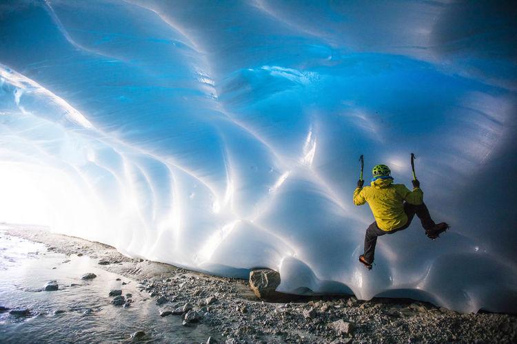 Man in snow on mountain