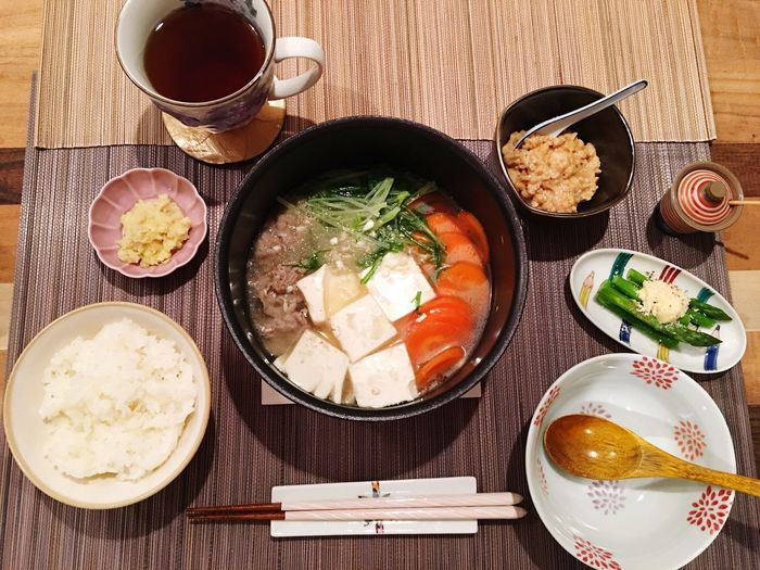 Today's Dinner 大根おろし鍋 アスパラマヨネーズ 納豆 簡単メシ Radish Hot-pot Asparagus Boiled Mayonnaise Natto Easy Food My Recipes Ready-to-eat Healthy Eating Indoors  SoDelicious