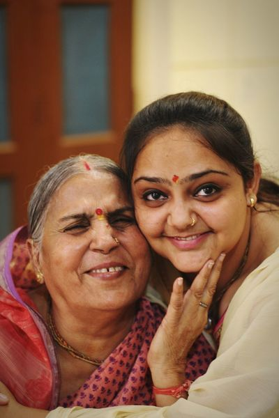 love Portrait Smiling Women Togetherness Bonding Happiness Females Looking At Camera Headshot Cheerful Sari Assisted Living Bangle Grandchild Grandparent Cheek To Cheek Indian Culture  Granddaughter Grandmother