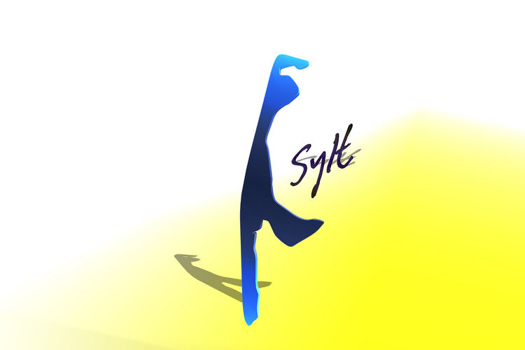 Sylter map 3Dwith gradient background and text Art And Craft Black Color Blue Close-up Communication Copy Space Craft Creativity Cut Out Drawing - Activity Human Representation Indoors  No People Paper Representation Studio Shot Text White Background Yellow