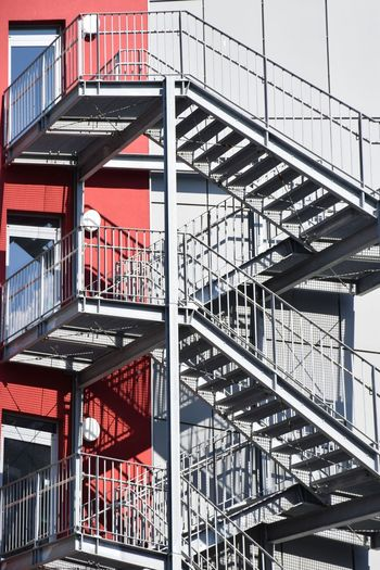 Nature Light And Shadow Beauty In Nature Sunlight Sunshine ☀ Day Outdoors Focus On Foreground Fire Escape Shadow Steps And Staircases Full Frame Steps Staircase Railing Safety Emergency Exit Girder Zigzag Stairs Hand Rail Iron - Metal