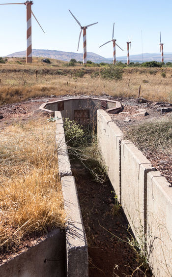 Old abandoned trenches from the time of the Yom Kippur War on the Golan Heights, near the border with Syria, in Israel Bunker Destruction Field Fortifications Golan Heights Syria  Travel Yom Kippur War Abandoned Armored Army Border Concrete Conflict Equipment Fort Fortress History Israel Military Ruin Shelter Trench War Weapon