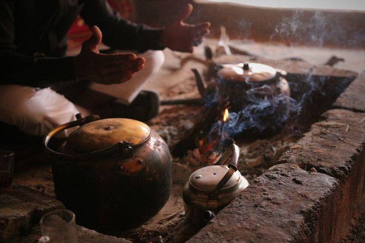 Close-up of tea boiler on fire