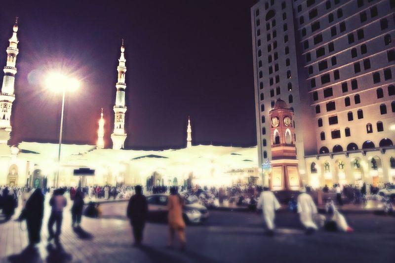 Almadinah المسجد النبوي الشريف Haram - Prophet Mohammed Holy Mosque Madinah Al-munawwarah City At Night Saudi Arabia Prayer Muslims