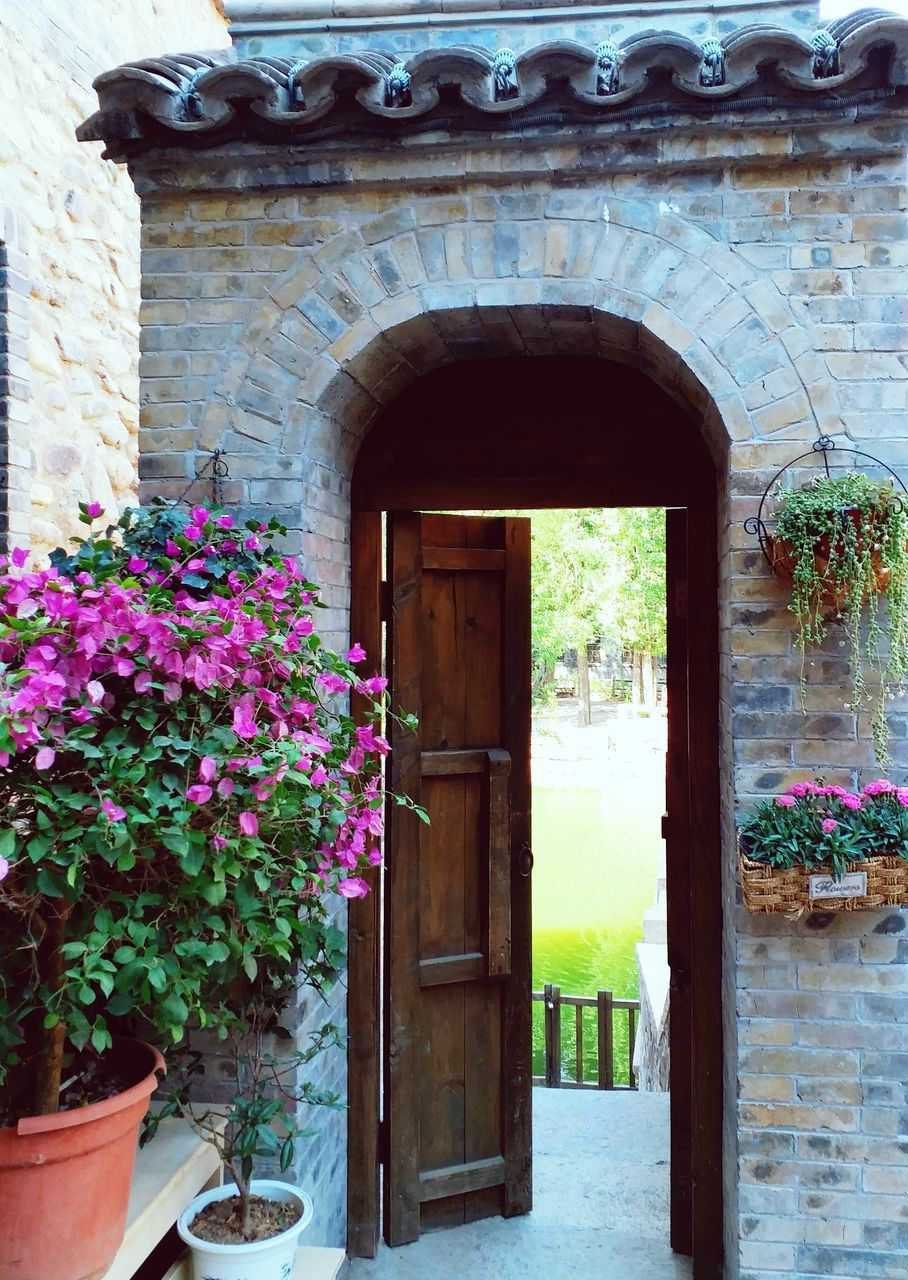 architecture, built structure, flower, door, growth, entrance, arch, plant, potted plant, building exterior, window, day, no people, outdoors, nature, entry, window box