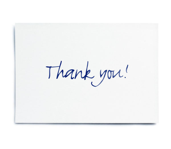 Thank you card with handwriting, isolated on white background. Isolated Thank You Blank Close-up Communication Copy Space Cut Out Document Global Communications Gratitude Handwriting  Indoors  Isolated On White Isolated White Background Message No People Note Pad Paper Single Object Single Word Studio Shot Text Thank You Card White Background White Color