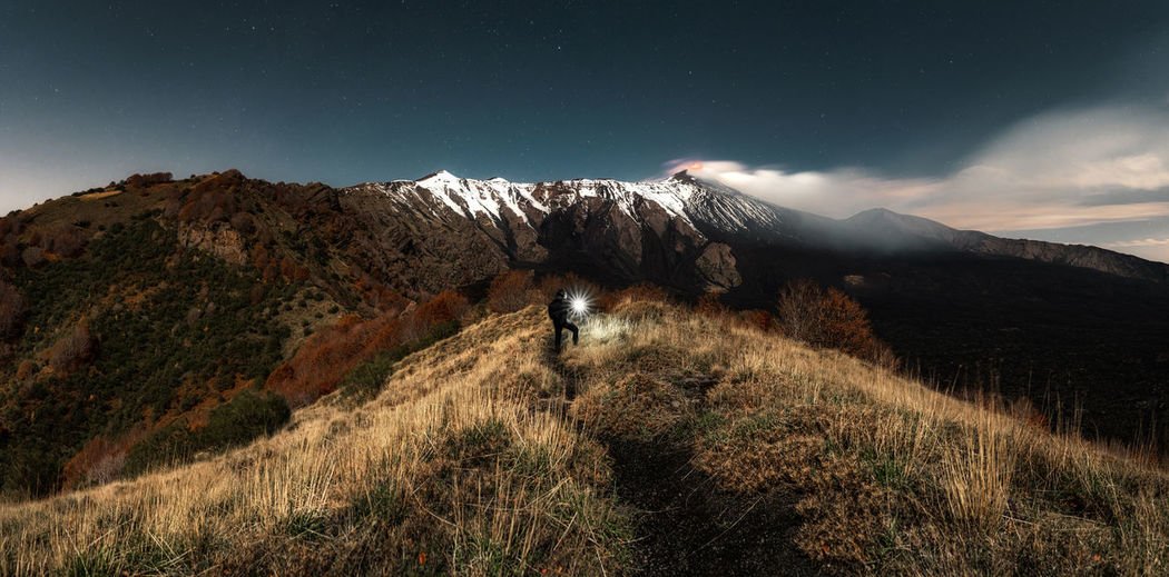 Panoramica view of volcano etna eruption