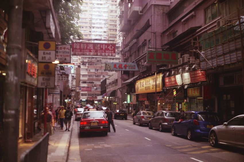 Analogue Photography Architecture Building Exterior Car City City Street Hong Kong Street Illuminated Outdoors Road Street Taking Photos