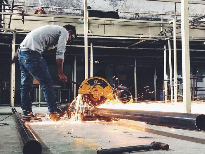 Welding - 2 Occupation Manual Worker Skill  Working Industry Workshop Expertise Metal Industry Men Work Tool Repairing Welder Sparks Focus On The Story