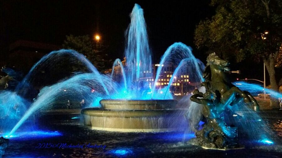 Kansas City Fountains at night! Water Fountain Fountain Fountainsplaza Fountains At Night Watercolor Bluewater