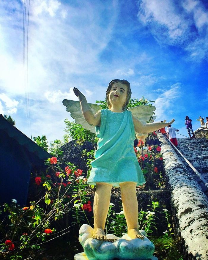 Happiness Sky Cloud - Sky Child Smiling Front View Cheerful Day Outdoors Sculpture