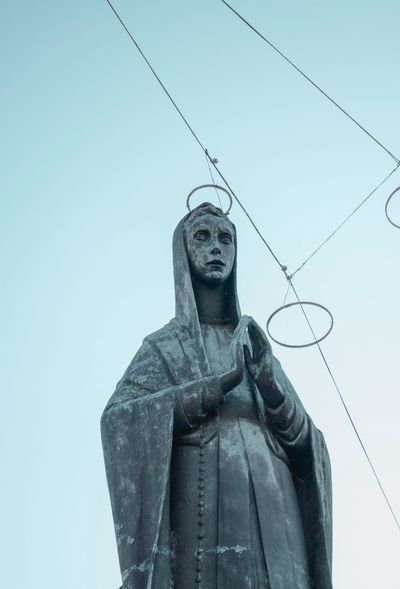 Blue Torino Turin Religious  Religion Statue Low Angle View Sculpture No People Day Outdoors Clear Sky Sky