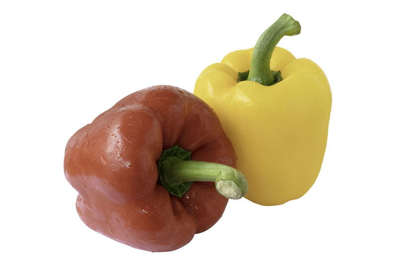 sweet yellow and red pepper bell isolated on white background with clipping path Clipping Path Agriculture Fresh On Eyeem  Isolated Red Tasty Food Bell Pepper Chili  Close-up Food Freshness Full Depth Field Health Healthy Eating Paprika Pepper Plant Stem Raw Food Red Pepper Bell Vegetable Wellbeing White Background White Background Indoors Yellow Yellow Bell Pepper