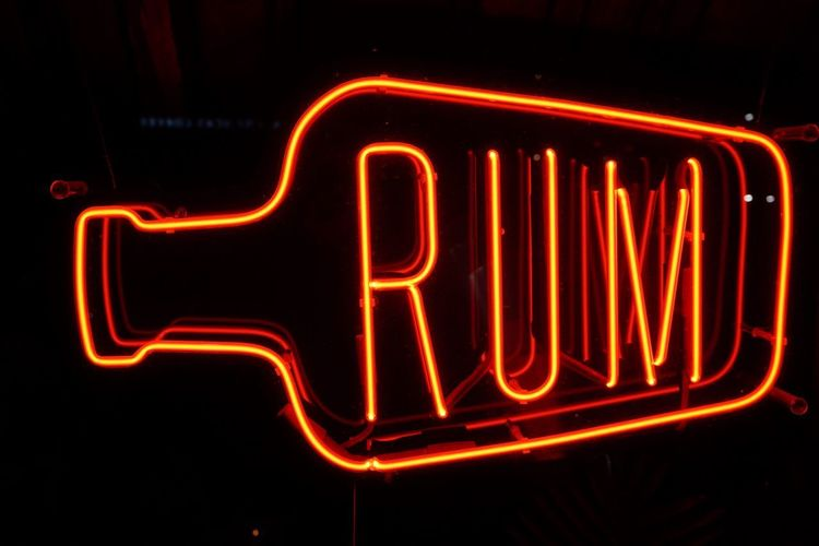 Rum Contrast Bar Sign Bar Culture Nightlife Bar Neon Sign Rum Drink Illuminated Text Western Script Communication Neon Night Sign Glowing No People Red Dark Single Word Close-up