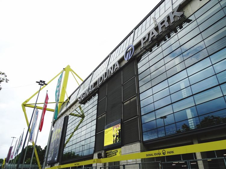 Low Angle View Built Structure Text Building Exterior Day Architecture No People Outdoors Sky Bundesliga Football Arena Football Signal Iduna Park BvB Borussia Dortmund Football Stadium Borusseum Architecture Arena Popular Photos EyeEm Best Shots EyeEmBestPics