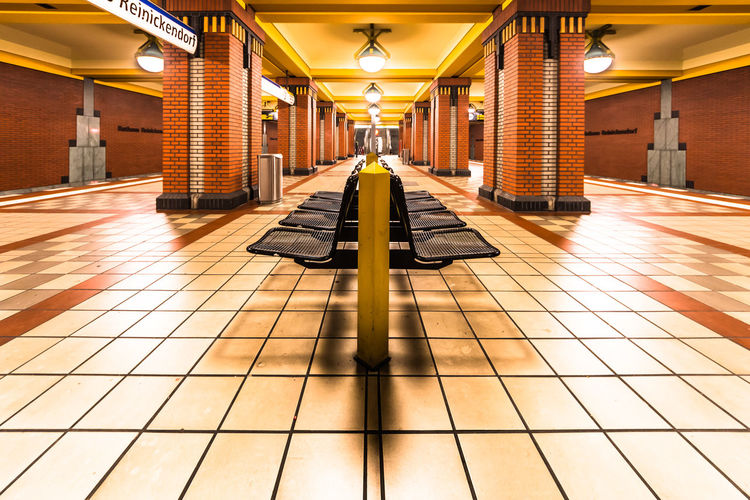 Architecture Bench Berlin Built Structure City Day No People Train Station U-Bahn Art Is Everywhere Paint The Town Yellow
