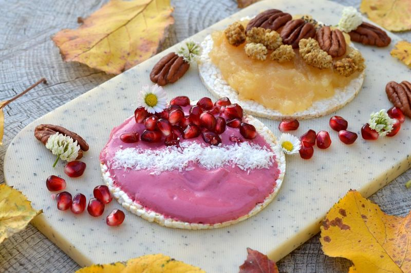 🍂✨😋 Rice Cracker Apple Compote Yoghurt Yoghurt And Fruit Daisies Pomegranate Seed Pomegranate Fall Autumn Leaves Food Food And Drink Sweet Food Sweet Dessert Fruit Cake Freshness Berry Fruit Indulgence Healthy Eating Homemade Temptation Ready-to-eat Table