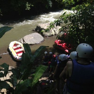 Heading down to river. Cant wait to play. Nervious Rafting INDONESIA Anticpate Hot sunburn