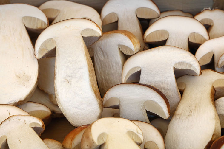 Close-Up Of Fresh Mushrooms At Market Stall