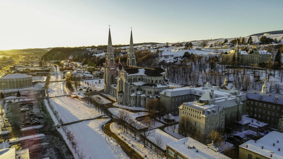 High angle view of cityscape during winter