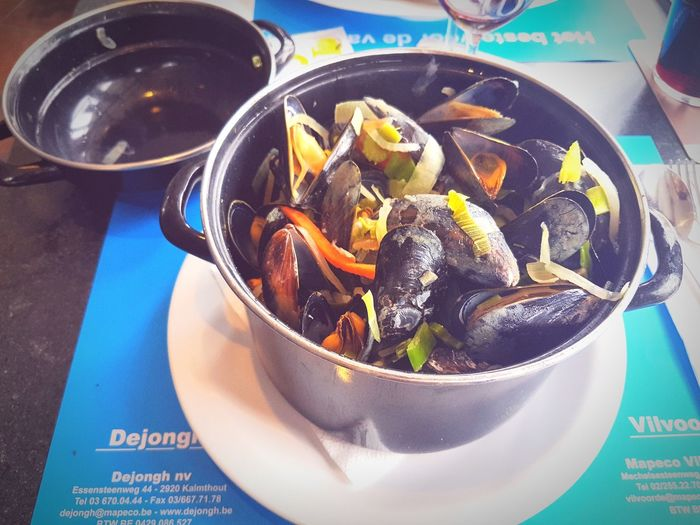EyeEm Selects Seafood Food And Drink High Angle View Healthy Eating No People Bowl Food Indoors  Day Freshness Close-up Ready-to-eat belgium Illuminated Blue