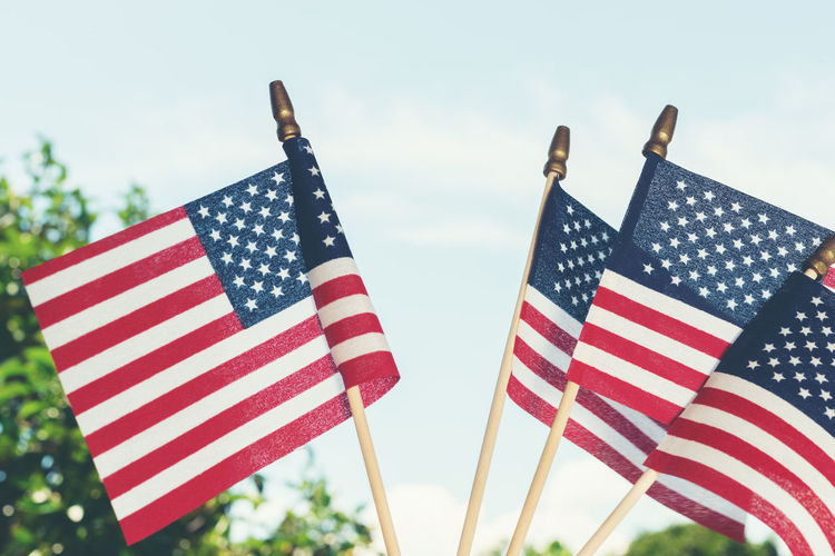 Flag Patriotism Striped Sky No People Low Angle View Focus On Foreground Shape Nature Day Emotion Star Shape Pride Independence Outdoors Close-up Pole National Icon