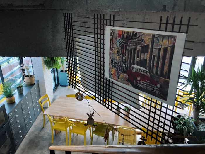 cafe indus Cozy Yellow Cafe Architecture Built Structure Building Exterior Day Indoors  No People