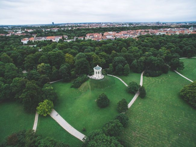 Architecture High Angle View Sky Built Structure Water Building Exterior Day Green Color No People Outdoors Tranquility Scenics Landscape Nature Beauty In Nature Mountain Tree Park Monument City Munich English Garden