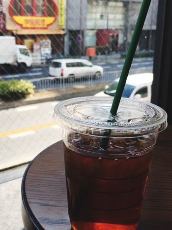 Drink Food And Drink Refreshment Focus On Foreground Table Drinking Straw Coffee - Drink Healthy Eating Outdoors Cold Temperature Close-up Food No People Freshness Drinking Glass Day Iced Coffee