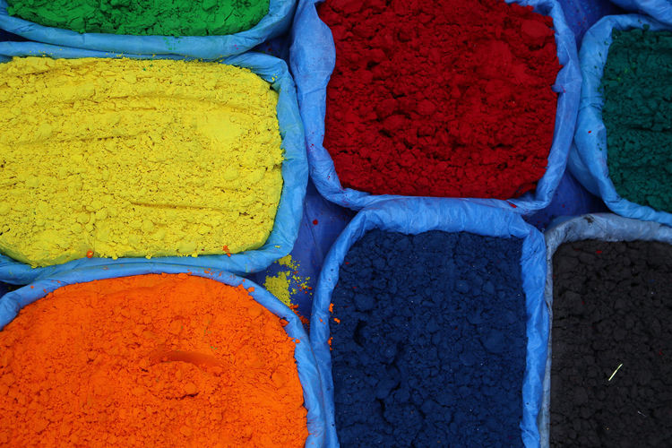 High Angle View Of Various Powder Paints At Market