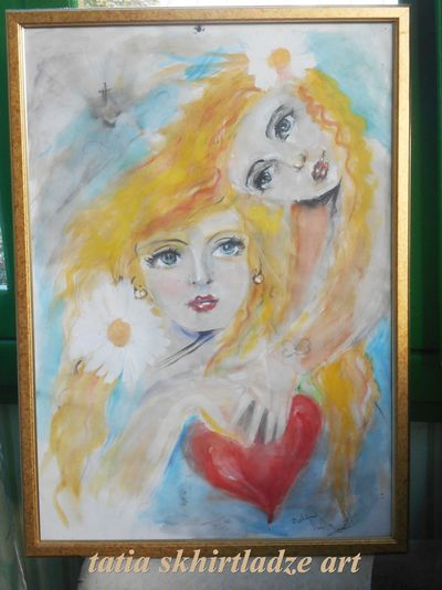Beautiful Art And Craft Colouring  Creativity Day Fine Art Painting Girls Multi Colored My Paintings Hoe Paint Painted Image People Portrait Real People Young Adult
