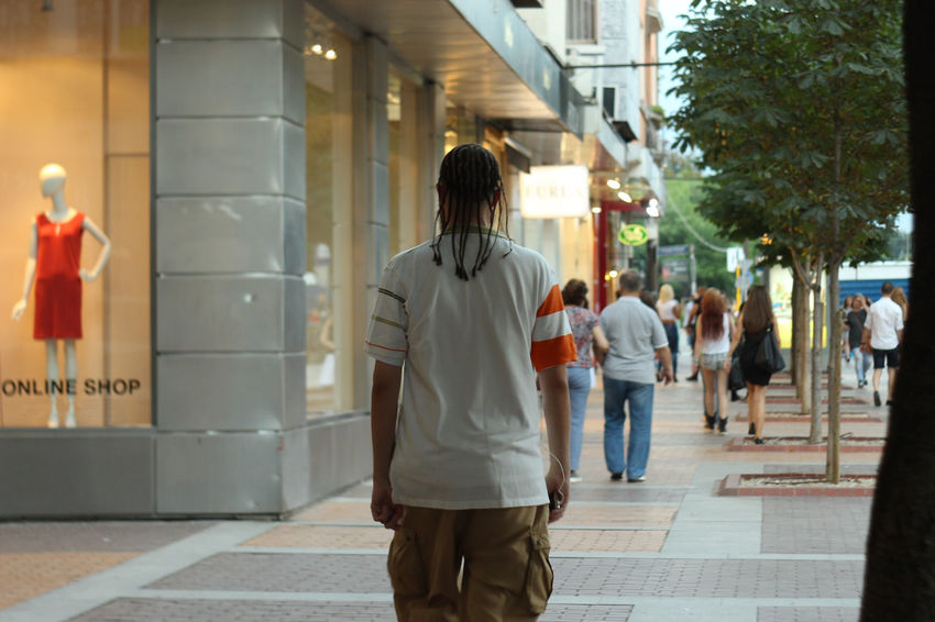 Casual Clothing City City Life Day Diminishing Perspective Full Length Haircut Hairstyle Illuminated Leisure Activity Lifestyles Man Rear View Street The Way Forward Walking Walking Around Walkway Live Love Shop Sofia, Bulgaria