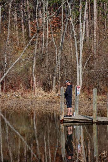 Reflection of man in lake