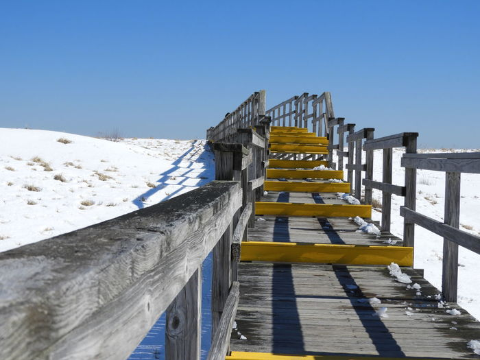 Boardwalk Photography Boardwalk Boardwalk Through Sand Dunes Snow Covered Sand Dunes Blue Sky Boardwalk Stairs Wooden Walkway Nature Calm Tranquility Tranquil Scene Outdoors Beauty In Nature Nature Photography Beach Sand Dune Photography Atlantic Ocean Snow Cold Temperature Sky Sand Tranquil Scene