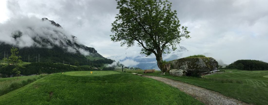 Golf Golf Course Morschach Axenstein Rain Rainy Day Clouds Green Flag Tree Tee Panorama IPhone 6s Plus IPhoneography Nature The Great Outdoors - 2016 EyeEm Awards Landscape Weather Hill Overcast Non Urban Scene Tranquility Mountain Range Mountains