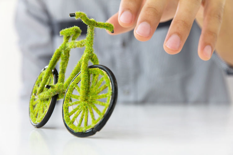 green bicycle concept Cycle Eco Economics Bikecycle Eco Energy Ecofriendly Ecology Green Color Holding Human Body Part Human Hand Save Energy Save The Planet Technology